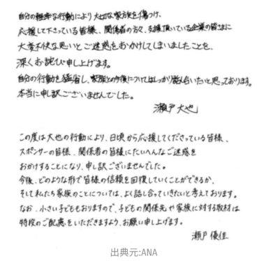 瀬戸夫妻謝罪文